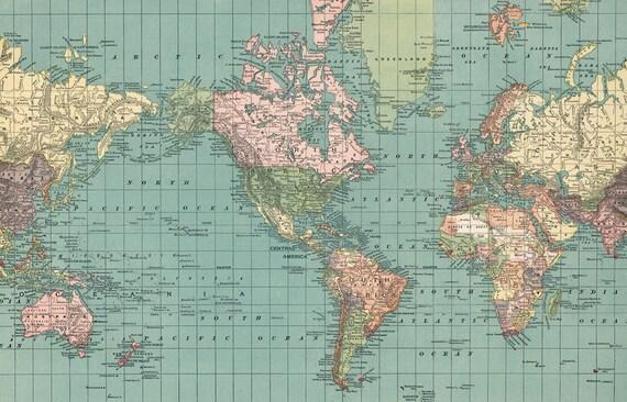 World map printable digital download 1892 vintage world map te gusta este artculo gumiabroncs Gallery