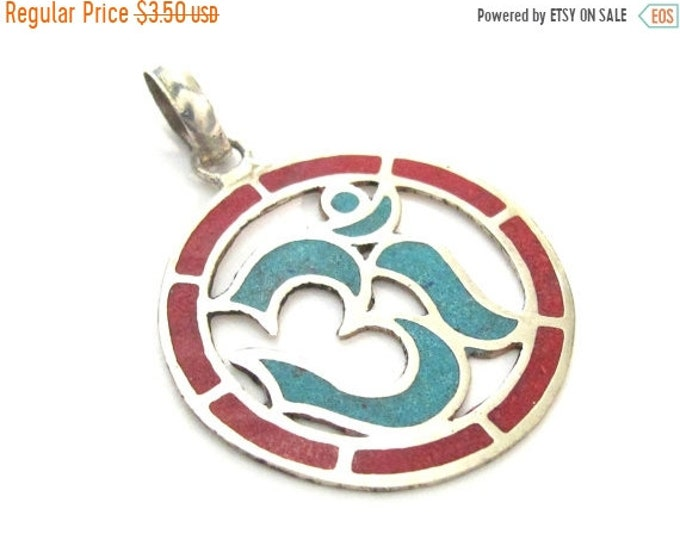 SALE 1 pendant - Sanskrit Om Round shape  Nepal pendant with turquoise coral inlay - yoga charms  PM540D