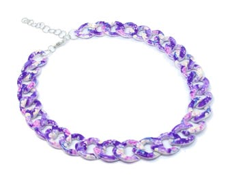 Purple Floral Chunky Aluminium Chain Choker Necklace