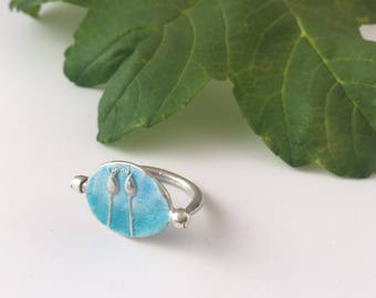 Seedhead flip ring - enamelled reversible ring - blue enamelled ring - sea themed ring - double sided ring