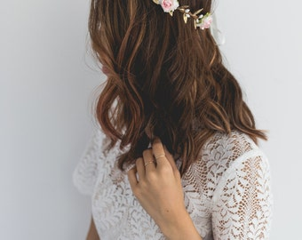 pink and white festive flower crown // pink flower crown / pink flower headband / white flower crown / festival flower crown