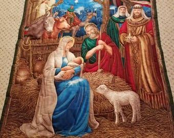 Nativity Wall Hanging, Religious, Christmas, Throw, Seasonal, Wall Hanging, Handmadem