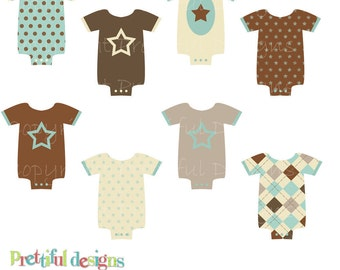 Baby Boy Onesie Clip Art for Scrapbooking and Invitations