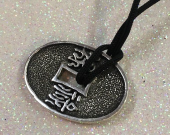 Sterling Silver 925 Adian Charm Token On Black String Necklace