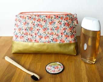 Trousse de toilette Fleurie Taille M - pochette intérieure zipée - coton & simili cuir doré
