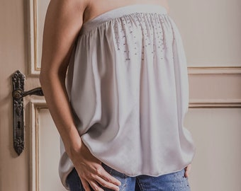 Pure silk top with silver lurex elastic and svarowsky crystals