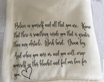 A personalized custom throw blanket for someone moving, beginning a new adventure, going to college or university...