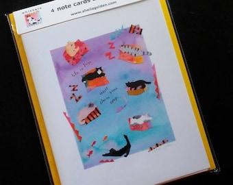 Catnap Art Notecards by Sheila Golden