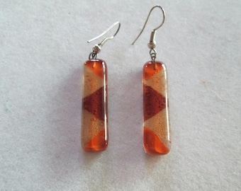 Pretty 1960's brown and amber lampwork glass drop earrings
