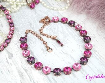 Swarovski Crystal Necklace, Pink Necklace, Purple Necklace, Statement Necklace, Chunky Necklace, Crystal Necklace, Bridal Necklace, Gift.