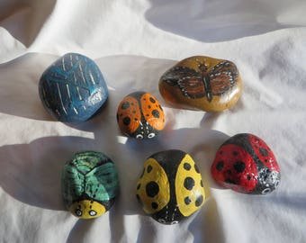 Painted Rocks - NY Yankees, butterfly, lady bug, moth