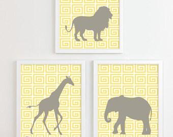 Safari Nursery Art, Zoo Nursery Print Animal Nursery Wall Art, Jungle Baby Nursery Decor Kids Art For Children Playroom Greek