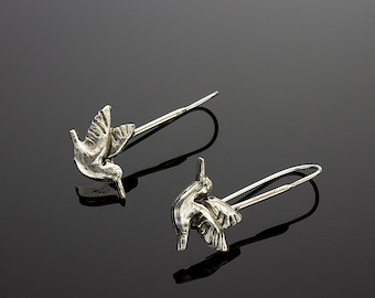 Handmade Sterling Silver Hummingbird Earrings