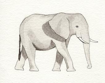 Elephant - Watercolor Print on Canvas