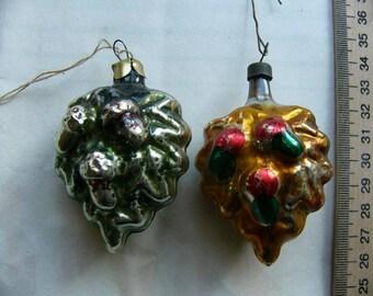 2 Christmas tree toys oak leaves, USSR