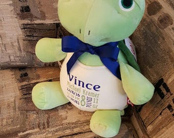 Personalized Stuffed Animal Birth Announcement New Baby Gift Baby Shower Gift Big Brother Big Sister Gift Toddler Gift Turtle Nursery Decor