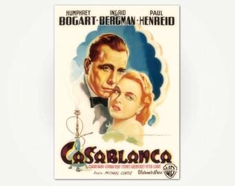 Casablanca Vintage Hollywood Movie Poster Print - Bogart and Bergman, 1948