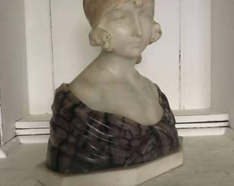 Art Nouveau Art Deco marble bust girl sculpture erotic woman