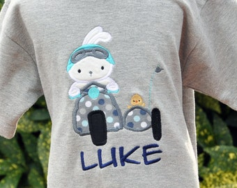 Personalized Boys Easter Shirt - Boys Easter Bunny Shirt - Boys Easter Chick Shirt - Scooter - Motorcycle - Sidecar Chick - Bunny Motorcycle
