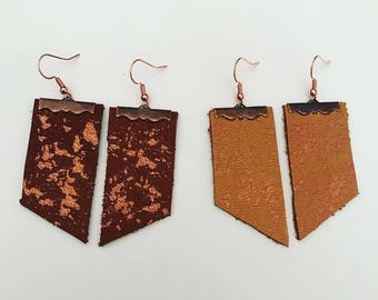 Rose Gold Speckled Leather Earrings