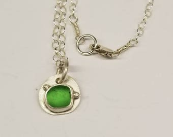 Green Sea Glass Necklace 18""