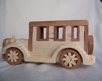 Toy Car Styled Model T Ford Handcrafted from Mahogany and Pine Wood for Children