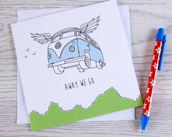 Campervan card 'Away we go'
