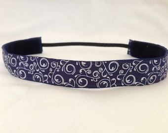 EmBands- Blue and White Swirl Non-Slip Headband; Running Headband; Workout Headband; Girl Headband; Tennis Headband; Yoga Headband