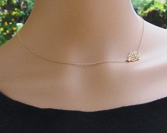 Minimalist Necklace, Sideways Hamsa, Gold Necklace, Hamsa Hand Necklace, Protection Necklace, Dainty Necklace, Hamsa Jewelry