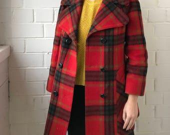 Vintage Red Checked Coat | Tweed Wool Coat | FEMITEX Coat | Loose Fit Button Women Coat | Women's Jacket
