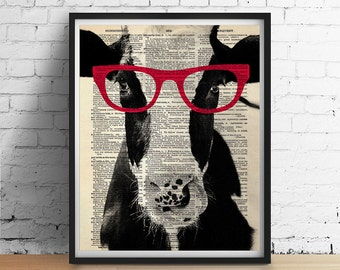 COW Wearing Red Glasses Art Print Poster, Farm Animal Vegan Illustration, Dorm Decor, Black and White Cow Vintage Dictionary Page GICLEE
