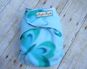 Blue Butterfly-  Extended Wear Hybrid Fitted Cloth Diaper with Hidden Bamboo Fleece