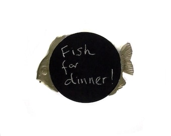 Fish Chalkboard / Pewter n Wood Fish / Kitchen Decor Upcycled