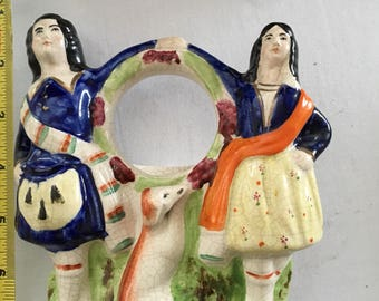 Staffordshire watch holder nicely painted couple with lurcher made in or around 1860