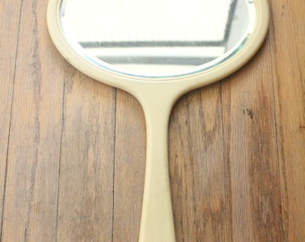 Antique 1910-1930 French Ivory Celluloid Bevelled Hand Mirror