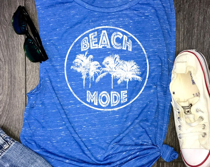 Featured listing image: beach mode muscle tank, beach tank, beach lovers gift, palm tree tank, beach tank top, beach shirt, salty beach, summer tank, summertime