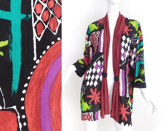 Sz M 80s Oversized Abstract Print Jacket - Vintage Women's Flowy Colorful Geometric Black Burgundy Purple Green Rayon Crepe Duster