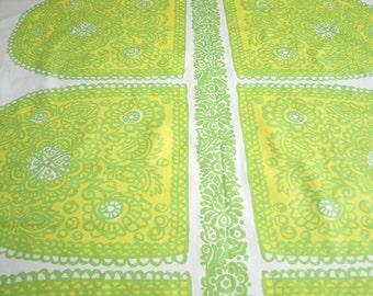 Marimekko fabric white green yellow Ovals Marimekko Satula Cotton Fabric Scandinavian Design Scandinavian Textile