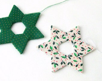 Star handsewn ornaments modern Christmas white green