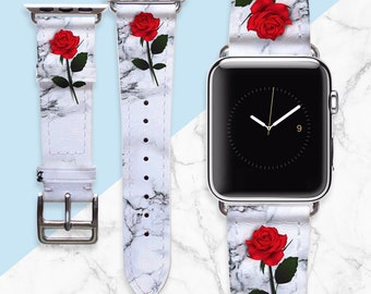 Handmade Apple Watch Band 38mm Marble Pattern Apple Watch Strap 42mm for Apple Watch Series 3 Series 2 Series 1 Floral Watch Straps PD0047