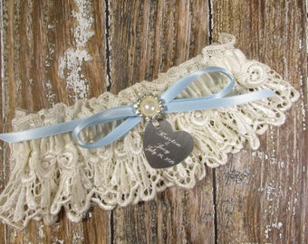 Ivory & Blue Personalized Lace Wedding Garter with Engraving, Pearls and Rhinestones