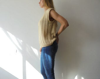 Vintage Yellow Vest.Oversize Vest.Vintage Knit.