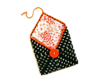 Vintage silver grey wool crochet pouch orange