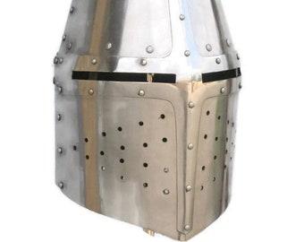 Medieval Teutonic Knight's Helmet, Teutonic Order Steel Helmet, Medieval Buhurt Top-Helm, Helmet HMB, Helmet SCA, TOP Helmet, Great Helm