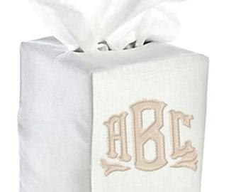 Monogrammed Applique Tissue Box Cover Linen Bathroom White Natural