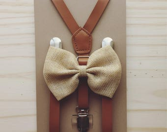 Brown Burlap Bow tie Suspender Kids Brown Suspenders Tan Suspender Bow Tie  Rustic Wedding Suspenders Little Boys Leather Suspenders