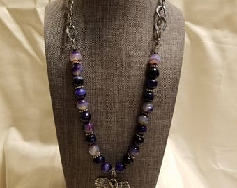 Amethyst Angel Pendant Necklace (SHA-113)
