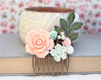Flower Hair Comb Wedding Hair Accessories Floral Collage Comb Green Patina Branch Pink Rose Hair Piece Rustic Country Chic Bridal Comb