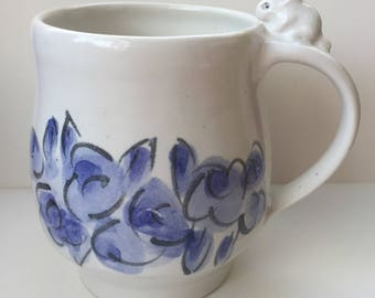 blue and white bunny mug