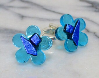 Fused Glass Flower Cufflinks - Abstract Dichroic Detail -  Silver T-Bar Fittings  - Semi Transparent Turquoise Blue - Gift Boxed